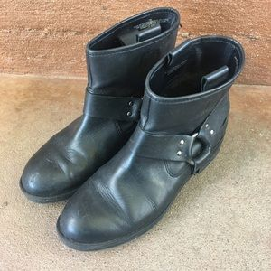 Black Leather Moto Boots Size 7